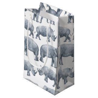 水彩画のサファリの象及びサイパターン スモールペーパーバッグ