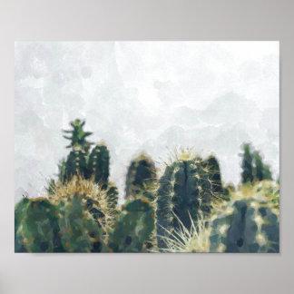 水彩画のサボテンのプリント| 10x8 ポスター