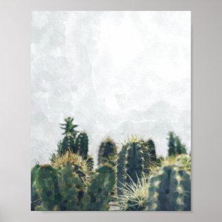 水彩画のサボテンポスター| 8x10 ポスター