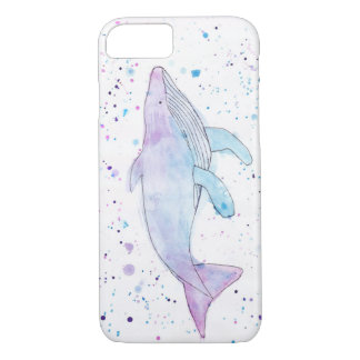 水彩画のザトウクジラのIPhone 7の場合 iPhone 8/7ケース