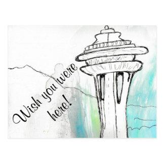 水彩画のシアトルの宇宙の針の郵便はがき ポストカード