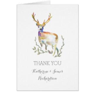 水彩画のシカの素朴な森林結婚式は感謝していしています カード