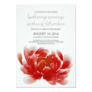 水彩画のシャクヤクの花の結婚式招待状 カード