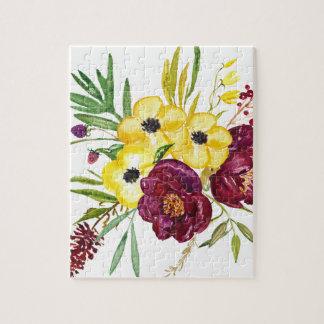 水彩画のシャクヤクの花束 ジグソーパズル