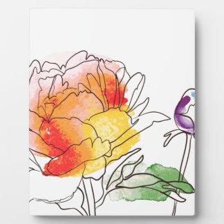 水彩画のシャクヤクの花 フォトプラーク