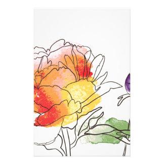 水彩画のシャクヤクの花 便箋
