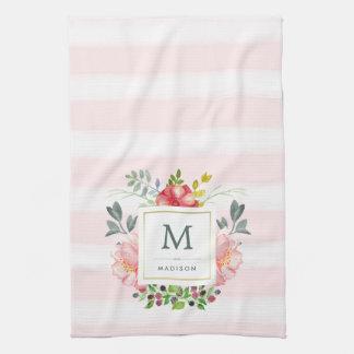 水彩画のシャクヤクはモノグラムと開花し、縞で飾ります キッチンタオル