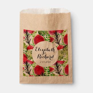 水彩画のシュロの葉のスイカの結婚式のモノグラム フェイバーバッグ