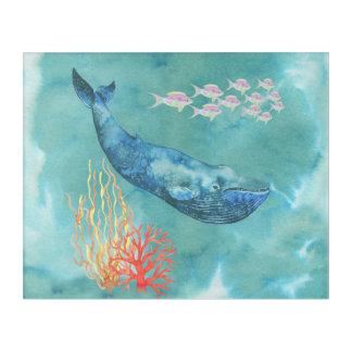 水彩画のシロナガスクジラID368 アクリルウォールアート