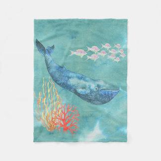 水彩画のシロナガスクジラID368 フリースブランケット
