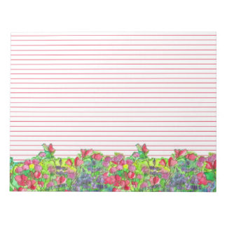 水彩画のスイートピーによっては並ぶ赤が開花します ノートパッド