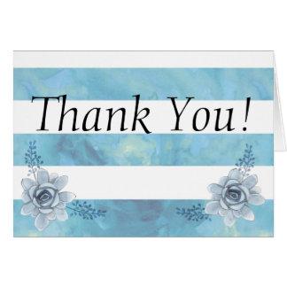 水彩画のストライプのな花のベビーシャワーは感謝していしています カード