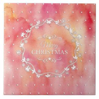 水彩画のセラミックタイルのクリスマスのリース タイル