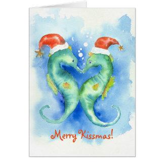 水彩画のタツノオトシゴのクリスマスカード カード