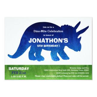 水彩画のトリケラトプスの恐竜の誕生会 12.7 X 17.8 インビテーションカード
