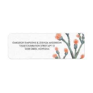 水彩画のニレの花 の差出人住所ラベル ラベル