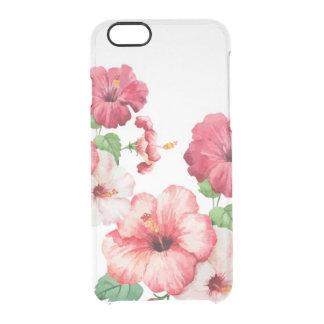 水彩画のハイビスカスの熱帯iPhone 6/6s Clearly™ クリアiPhone 6/6Sケース