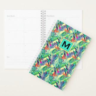 水彩画のハチドリは あなたのイニシャルを加えます プランナー手帳