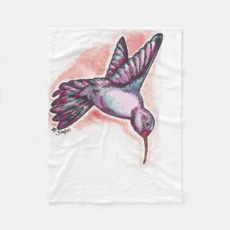 水彩画のハチドリ フリースブランケット