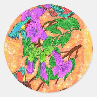 水彩画のハチドリ ラウンドシール