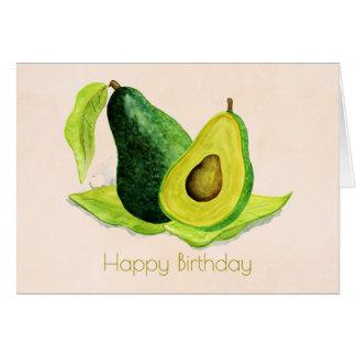 水彩画のハッピーバースデーの緑のアボカドフルーツ カード