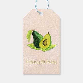 水彩画のハッピーバースデーの緑のアボカドフルーツ ギフトタグパック