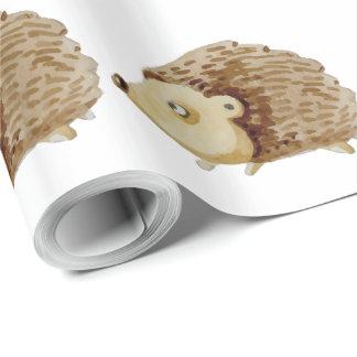水彩画のハリネズミのギフト用包装紙 ラッピングペーパー