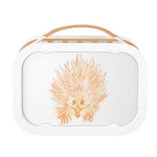 水彩画のハリモグラのオレンジお弁当箱 ランチボックス