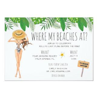 水彩画のバチェロレッテのビーチのパーティの招待状 12.7 X 17.8 インビテーションカード