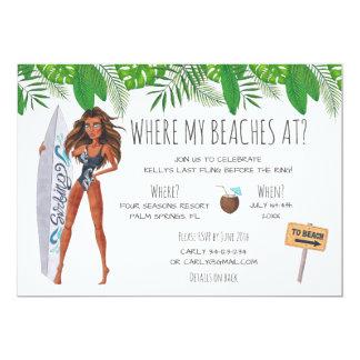 水彩画のバチェロレッテの波のビーチのパーティー 12.7 X 17.8 インビテーションカード