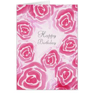 水彩画のバラの空白のな挨拶状 グリーティングカード