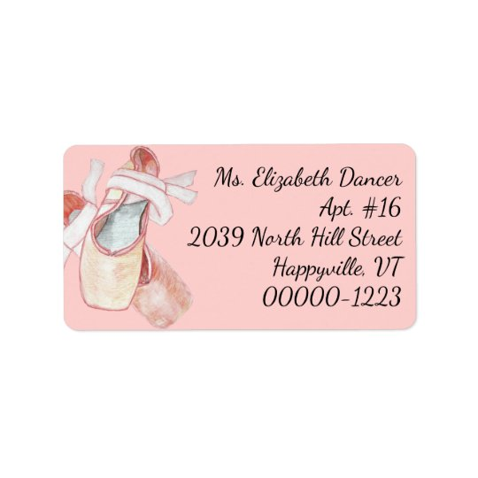 水彩画のバレリーナのピンクのスリッパの差出人住所 宛名ラベル