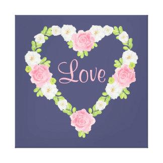 水彩画のバレンタインのハートの花のリース キャンバスプリント