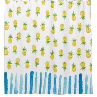 水彩画のパイナップルストライプのシャワー・カーテン シャワーカーテン