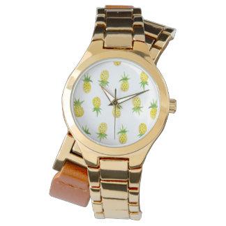 水彩画のパイナップルパターン覆いの腕時計 リストウオッチ