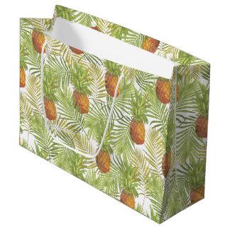 水彩画のパイナップルパターン ラージペーパーバッグ