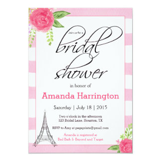 水彩画のパリのブライダルシャワーの招待状-ピンク カード