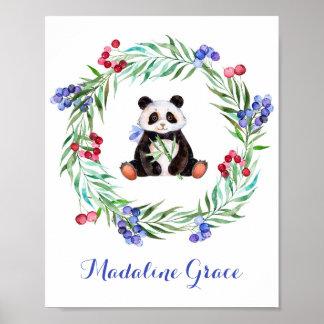水彩画のパンダの子供部屋の芸術 ポスター