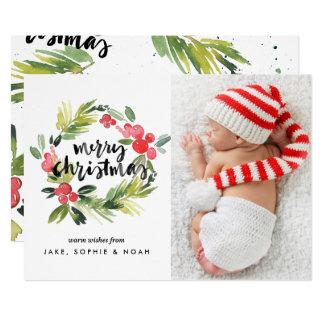 水彩画のヒイラギのリースのメリークリスマスの写真カード カード