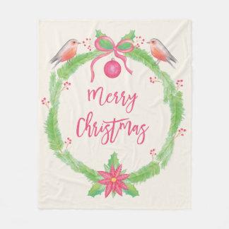 水彩画のヒイラギのリースのメリークリスマス フリースブランケット