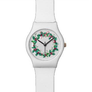 水彩画のヒイラギのリースの腕時計 リストウォッチ