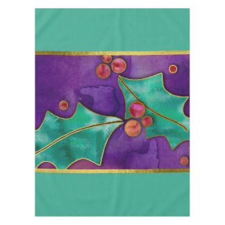 水彩画のヒイラギの果実の紫色の緑の赤い休日 テーブルクロス