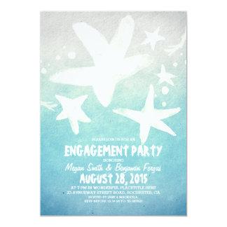 水彩画のヒトデの青いビーチの婚約パーティ カード