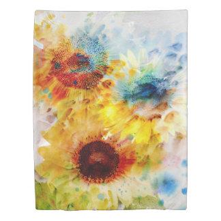 水彩画のヒマワリ(側面1)の対の羽毛布団カバー 掛け布団カバー