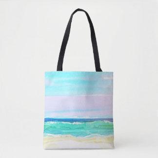 水彩画のビーチ場面1 トートバッグ