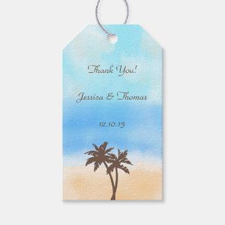 水彩画のビーチ結婚式のコレクション ギフトタグパック