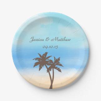 水彩画のビーチ結婚式のコレクション 紙皿 小