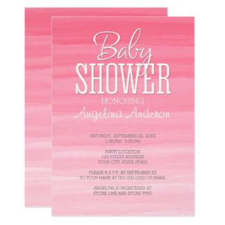 水彩画のピンクのグラデーションで甘い女の子のベビーシャワー カード