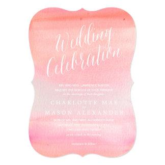 水彩画のピンクのグラデーションな結婚式招待状 カード