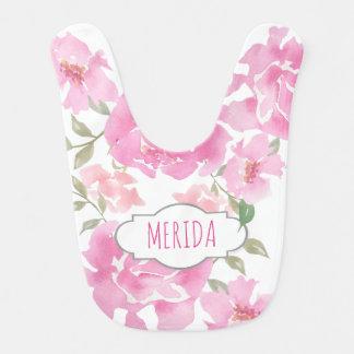 水彩画のピンクのシャクヤクの花のかわいいガーリー ベビービブ